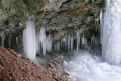 Icicles in a cave Royalty Free Stock Images
