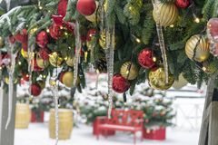 Icicles on Christmas tree decorations. Decorations New Year, Christmas royalty free stock image
