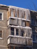 Icicles. The city of Novouralsk, Sverdlovsk area. Royalty Free Stock Photos