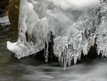 Icicles on the creek Stock Photography
