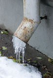 Icicles on a drainpipe in early winter Stock Images