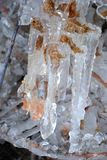 Icicles  on dry leaf Royalty Free Stock Photography