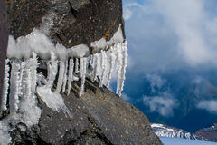 Icicles of Elbrus. Icicles on the cliffs of the southern slope of Mount Elbrus Stock Photography