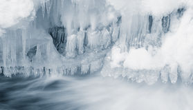 Icicles and flowing water Royalty Free Stock Photos