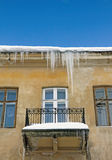 Icicles on the foof Royalty Free Stock Image