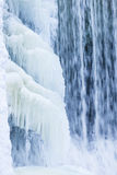 Icicles formation in waterfall Royalty Free Stock Photo