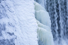 Icicles formation in waterfall Royalty Free Stock Images