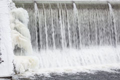 Icicles formation in waterfall Stock Image