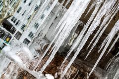 Icicles on Fountain Royalty Free Stock Photo