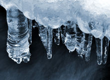 Icicles on a frozen creek Stock Images