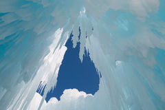 Icicles hang from the ceiling of ice cave Royalty Free Stock Image