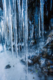 Icicles hanging on mountain rock Royalty Free Stock Images