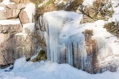 Icicles hanging in the mountains Royalty Free Stock Photography