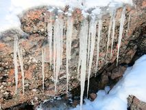 Icicles Hanging From a Rock. Frozen icicles are hanging from a rock in winter Royalty Free Stock Photos
