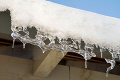 Icicles. Hanging from a roof Royalty Free Stock Photos