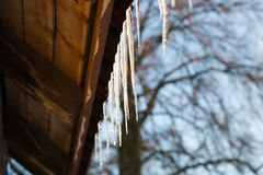 Icicles hanging on roof at winter. Stock Photo
