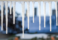 Icicles hanging from windowsill Royalty Free Stock Images