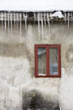 Icicles hangingon the roof Stock Photo
