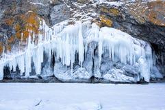 Icicles on Lake Baikal stock images
