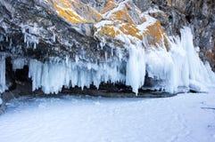 Icicles on Lake Baikal royalty free stock image