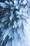 Icicles on Lake Baikal. View of icicles on Lake Baikal, Siberia, Russia royalty free stock photos