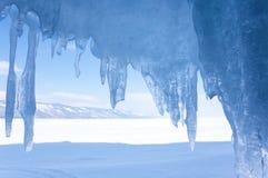 Icicles on Lake Baikal. View of icicles on Lake Baikal, Siberia, Russia stock photos
