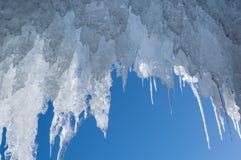 Icicles of Lake Baikal. View of icicles on Lake Baikal, Siberia, Russia royalty free stock photos
