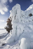 Icicles in Mare`s head Cape, Lake Baikal, Olkhon island. Winter Stock Photography