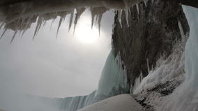 Icicles Melting, Frozen Falls with Sound stock video