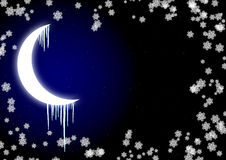 Icicles on moon Stock Photo