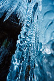Icicles on mountain wall Royalty Free Stock Photos