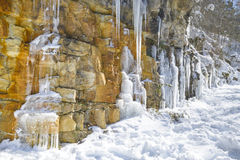 Icicles over a cliff, Cebollera range, La Rioja, Spain Stock Images