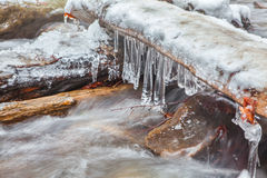 Icicles over frozen water Stock Image