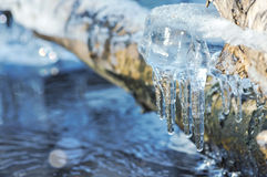 Icicles over water Stock Photos