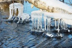 Icicles over water Royalty Free Stock Images