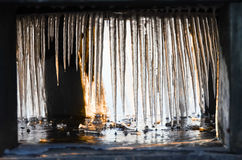 Icicles reaching the water. Clear icicles in the morning sun Royalty Free Stock Photos