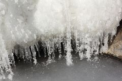 Icicles in  rime on a stone on a freezing river. Ob reservoir, Siberia, Russia Royalty Free Stock Photo