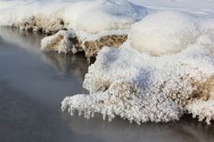 Icicles in  rime on a stone on a freezing river. Ob reservoir, Siberia, Russia Royalty Free Stock Images