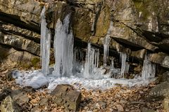 Icicles in Roaring Run Gorge. Winter view of icicles in Roaring Run Gorge located Eagle Rock in Botetourt County, Virginia, USA Stock Photography