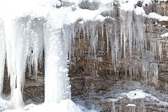 Icicles on rock at Low Tatras, Slovakia Stock Images