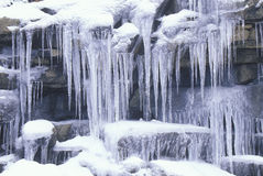 Icicles on Rocks. Sierra Mountains, California Royalty Free Stock Image