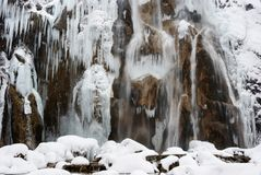 Icicles on rocks at Plitvice Lakes royalty free stock images