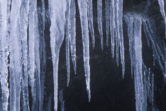 Icicles on Rocks, Sierra Mountains, California Stock Image