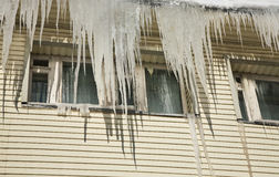 Icicles on a roof Royalty Free Stock Photography