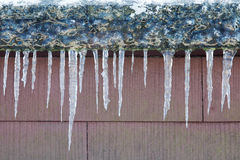Icicles at a roof Stock Photos