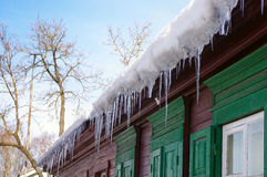 Icicles on the roof Royalty Free Stock Image