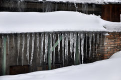 Icicles on the roof Stock Image