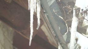 Icicles roof hanging off a roof in the dripping winter spring warming nature stock video footage