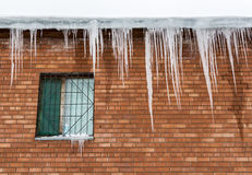 Icicles on the roof Stock Images