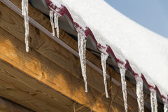 Icicles on the roof Royalty Free Stock Images